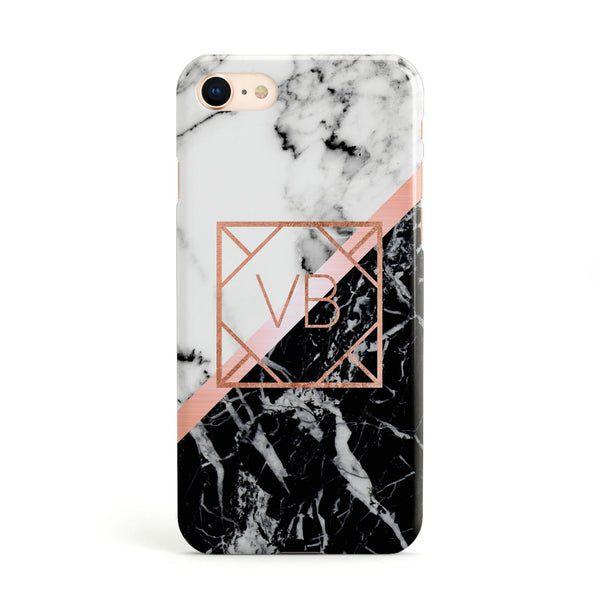 a38cd3b22645ec Personalised Rose Gold With Marble Initials Apple iPhone Case