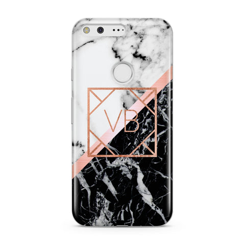 Personalised Rose Gold With Marble Initials Google Case