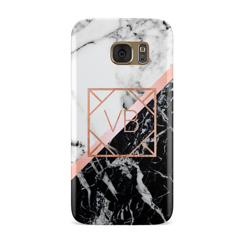 Personalised Rose Gold With Marble Initials Samsung Galaxy Case
