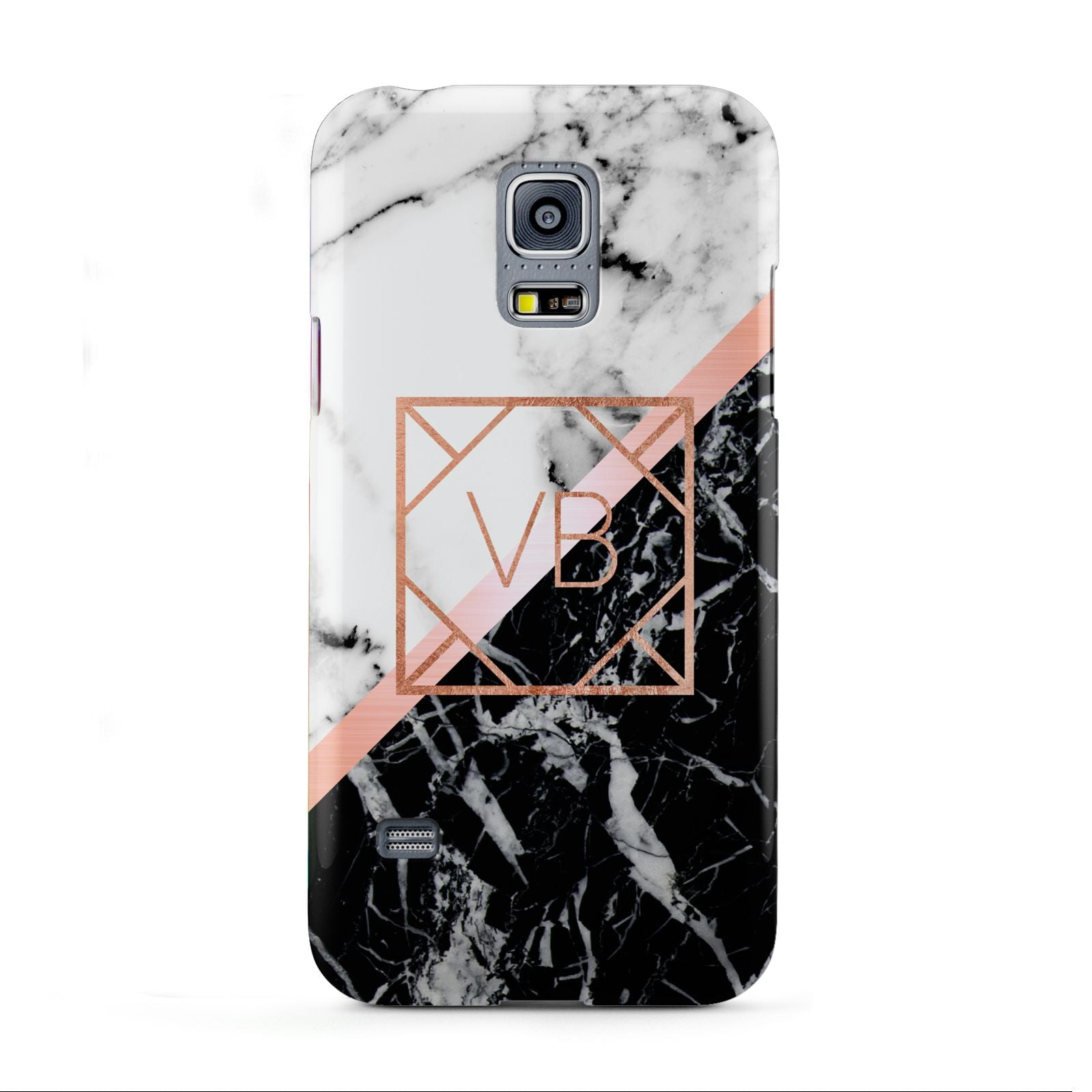 buy online d88c3 0f102 Personalised Rose Gold With Marble Initials Samsung Galaxy Case