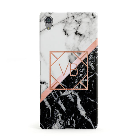 Personalised Rose Gold With Marble Initials Sony Xperia Case