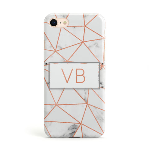 Personalised Rosegold Marble Initials Apple iPhone Case