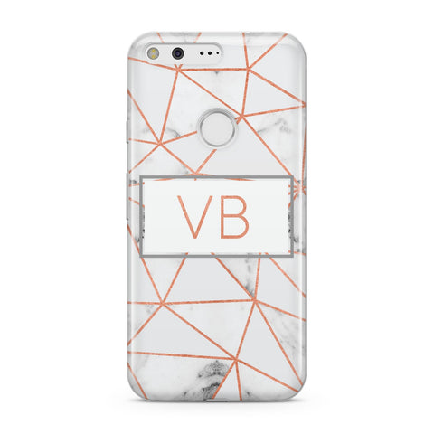 Personalised Rosegold Marble Initials Google Case