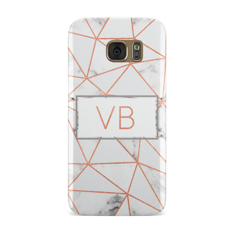 Personalised Rosegold Marble Initials Samsung Galaxy Case