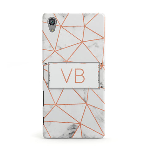 Personalised Rosegold Marble Initials Sony Xperia Case
