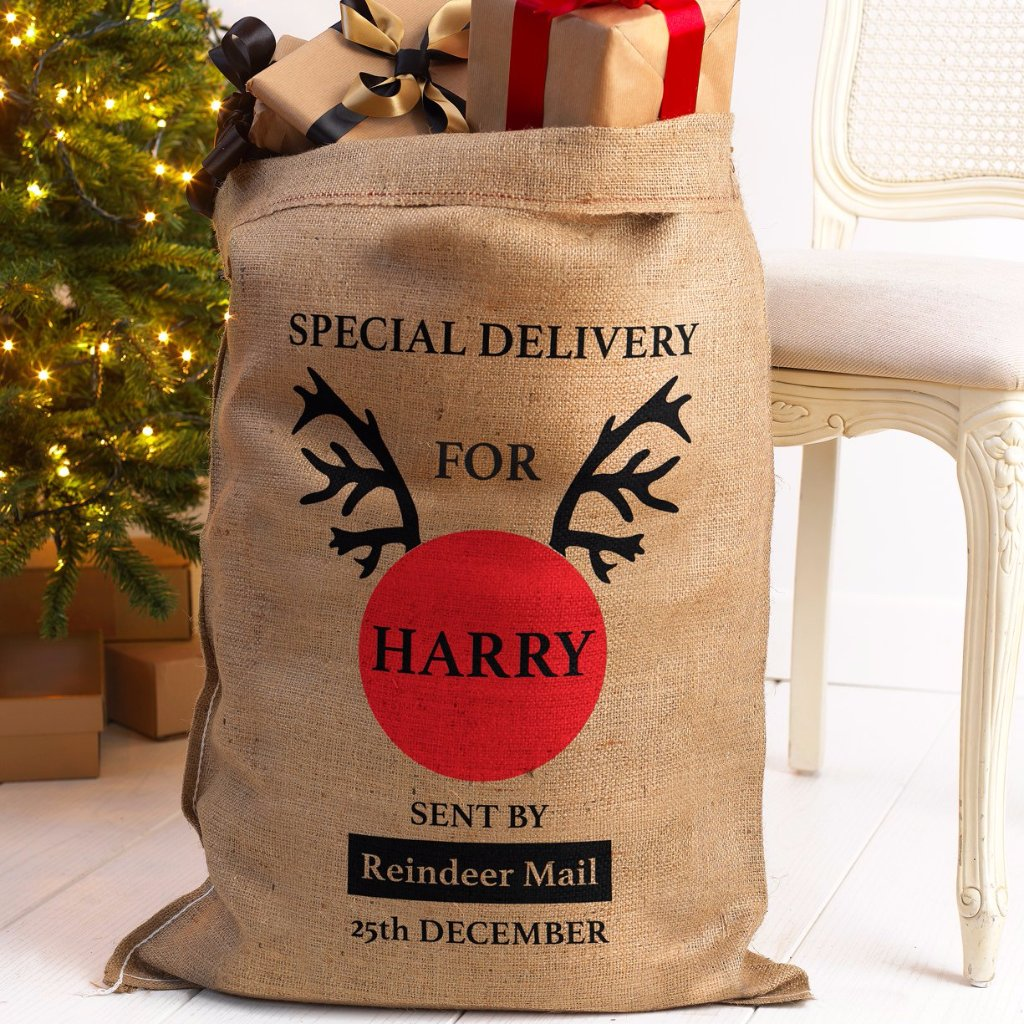 Personalised Santa Sack Hessian Special Delivery