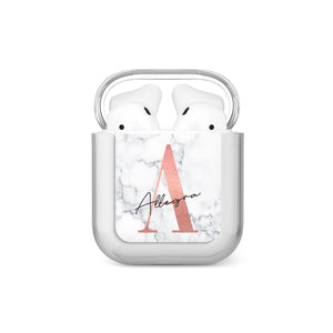 Personalised Signature Rose Gold Marble AirPods Case