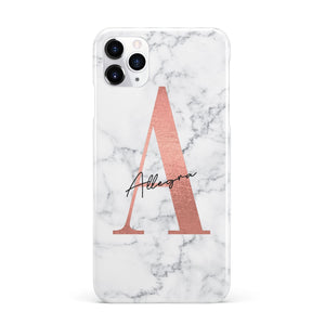 Personalised Signature Rose Gold Marble Apple iPhone Case