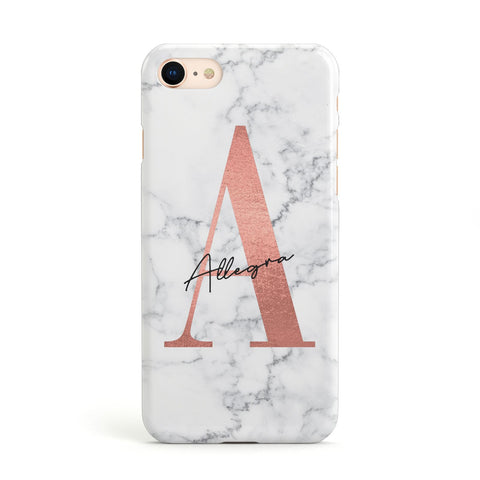 Personalised Signature Rose Gold Marble iPhone Case