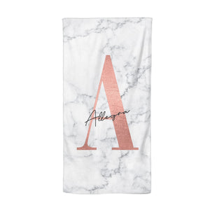 Personalised Signature Rose Gold Marble Beach Towel