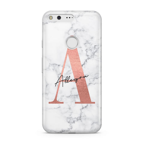 Personalised Signature Rose Gold Marble Google Case