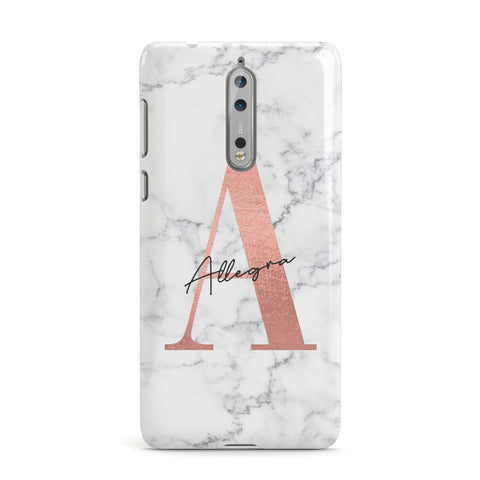 Personalised Signature Rose Gold Marble Nokia Case