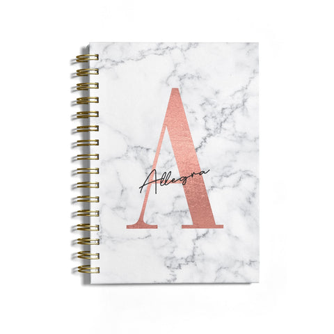 Personalised Signature Rose Gold Marble Notebook