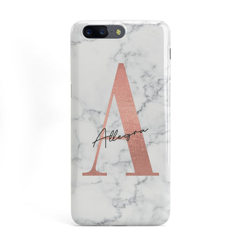 Personalised Signature Rose Gold Marble OnePlus Case