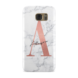 Personalised Signature Rose Gold Marble Samsung Galaxy Case