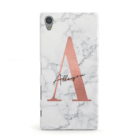 Personalised Signature Rose Gold Marble Sony Case