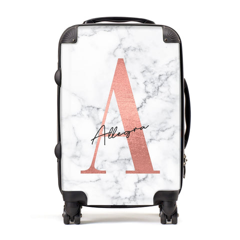 Personalised Signature Rose Gold Marble Suitcase