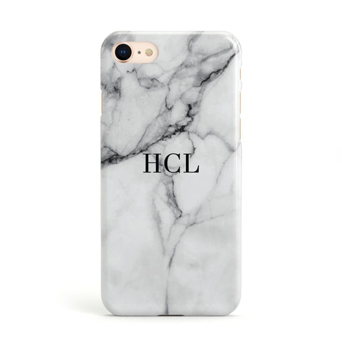 Personalised Small Marble Initials Custom Apple iPhone Case