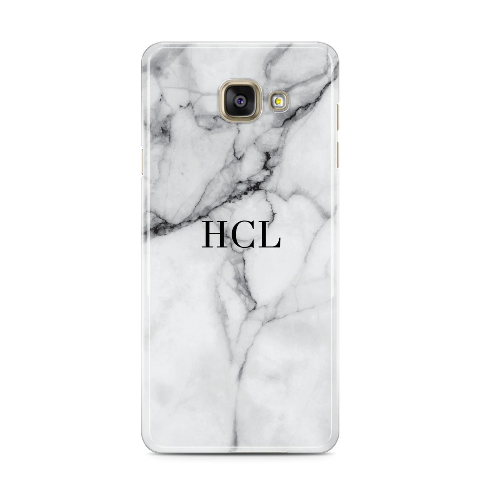 Personalised Small Marble Initials Custom Samsung Galaxy A3 2016 Case on gold phone