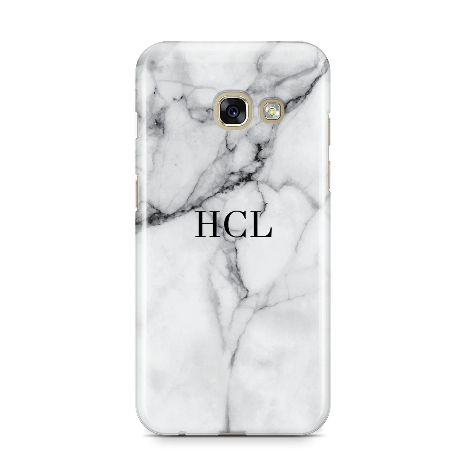 Personalised Small Marble Initials Custom Samsung Galaxy A3 2017 Case on gold phone