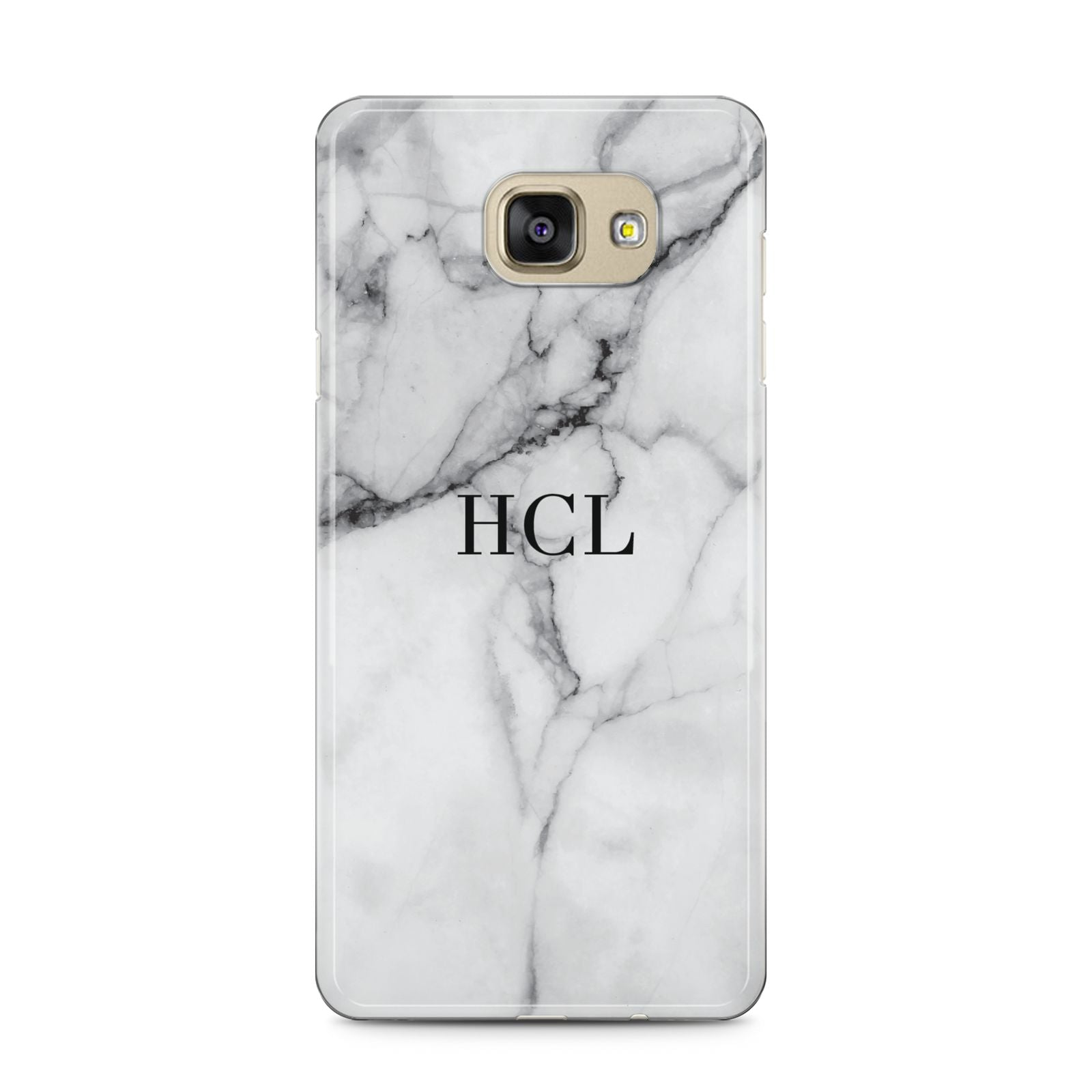 Personalised Small Marble Initials Custom Samsung Galaxy A5 2016 Case on gold phone