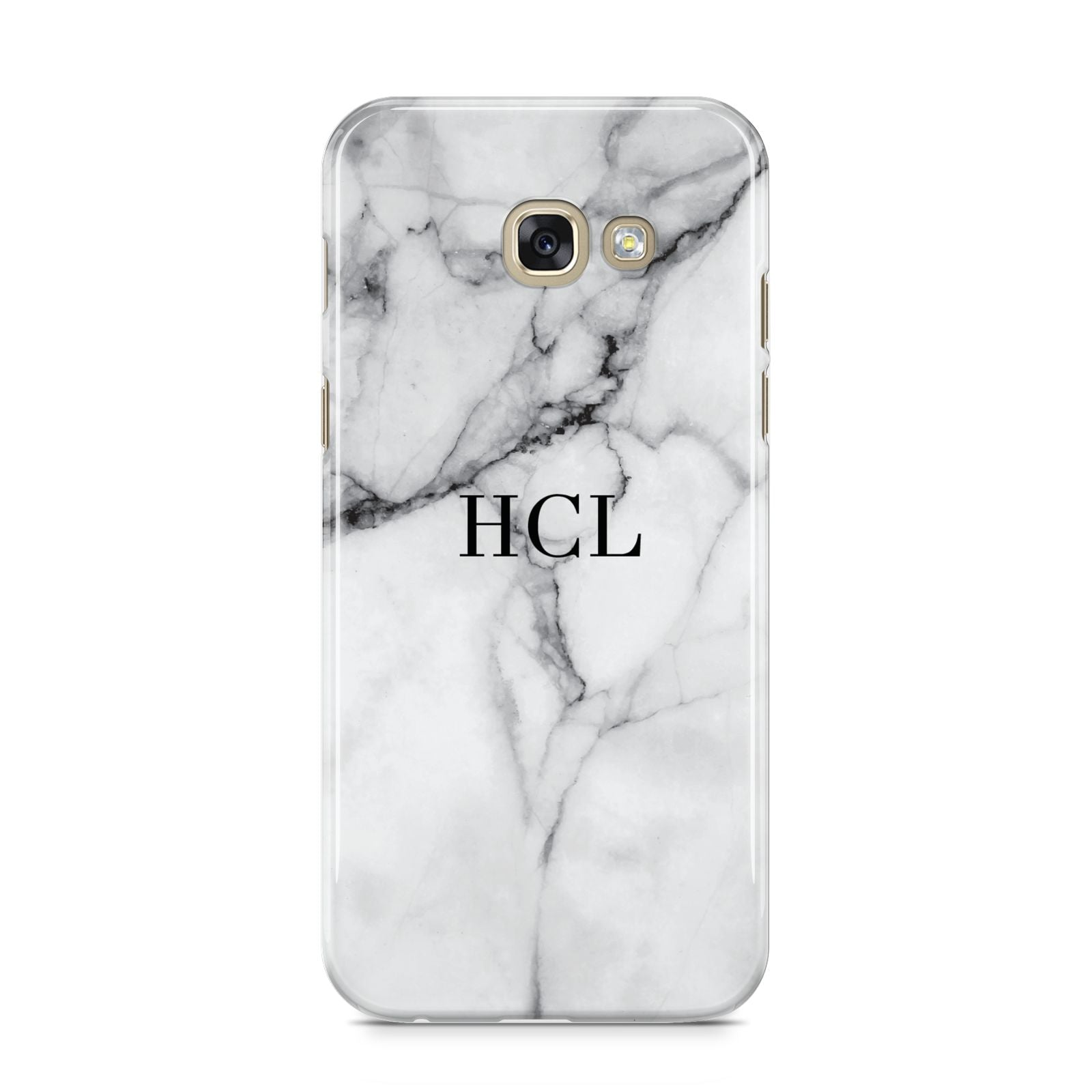 Personalised Small Marble Initials Custom Samsung Galaxy A5 2017 Case on gold phone