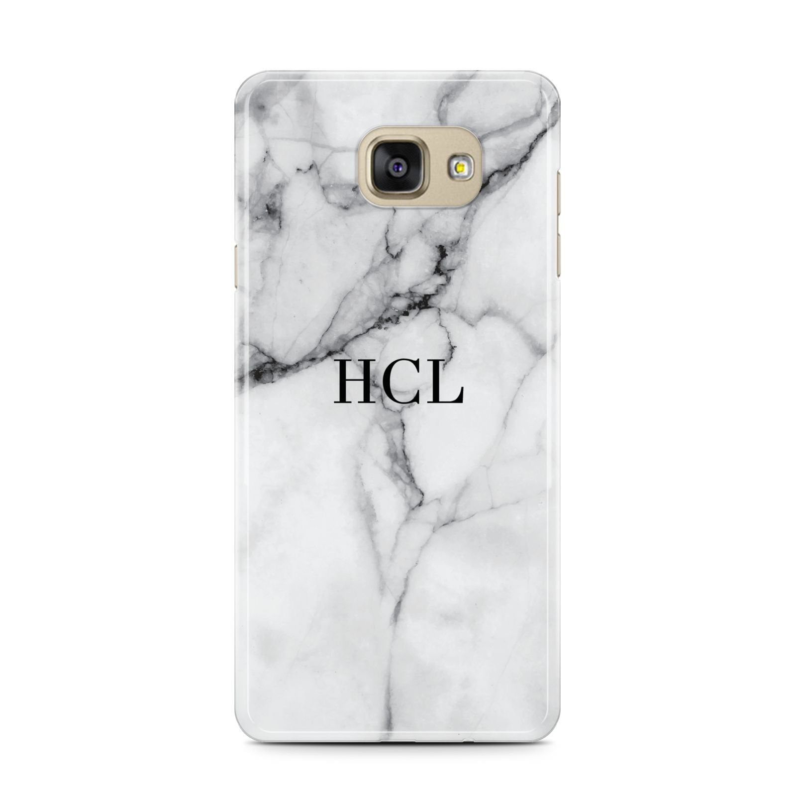 Personalised Small Marble Initials Custom Samsung Galaxy A7 2016 Case on gold phone