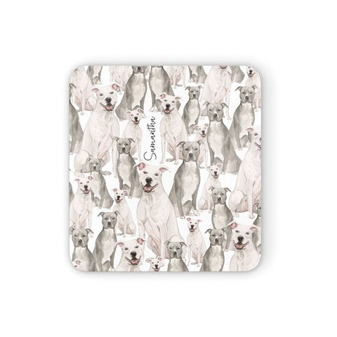 Personalised Staffordshire Dog Coasters set of 4