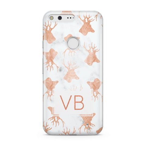 Personalised Stag Marble Initials Google Case