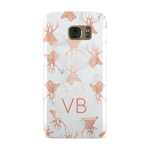 Personalised Stag Marble Initials Samsung Galaxy Case