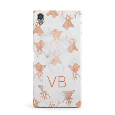 Personalised Stag Marble Initials Sony Xperia Case