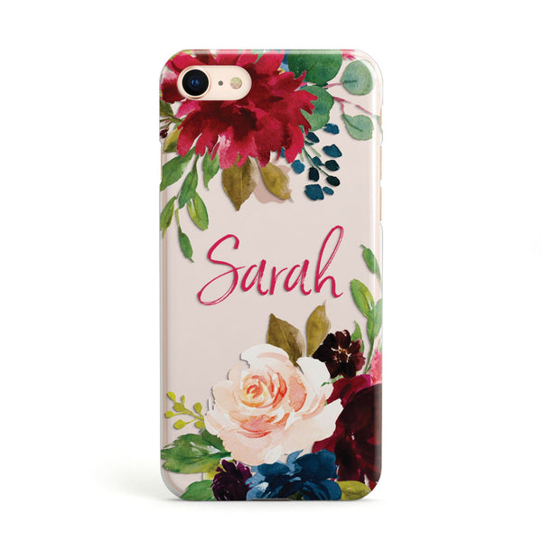 5b0ee759fa Personalised Transparent Name Roses Apple iPhone Case