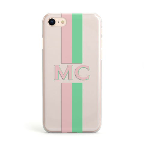 Personalised Transparent Striped Pink & Green Apple iPhone Case
