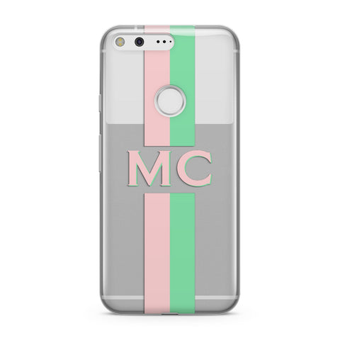 Personalised Transparent Striped Pink & Green Google Case