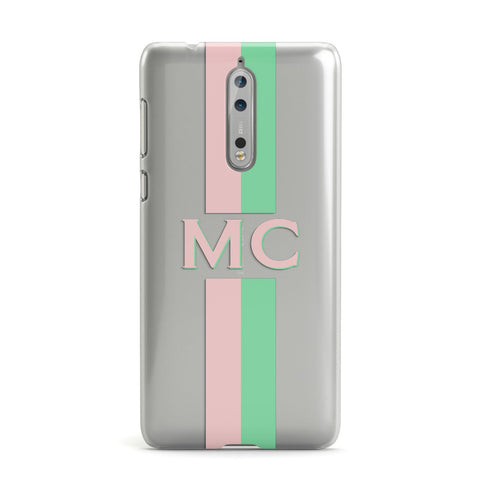 Personalised Transparent Striped Pink & Green Nokia Case