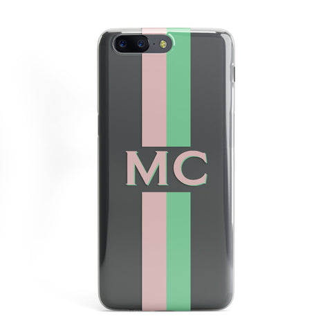 Personalised Transparent Striped Pink & Green OnePlus Case