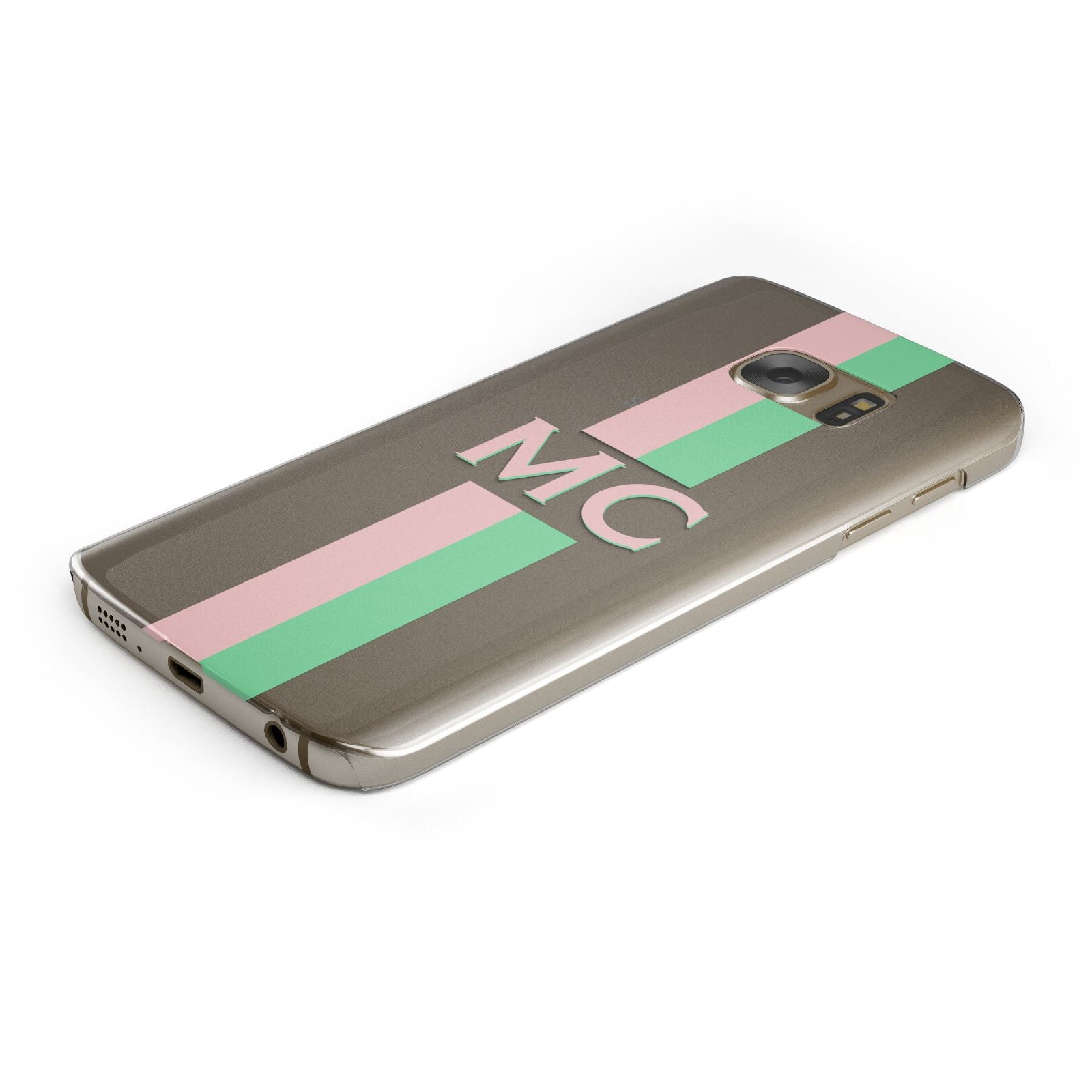 Personalised Transparent Striped Pink Green Samsung Galaxy Case Bottom Cutout