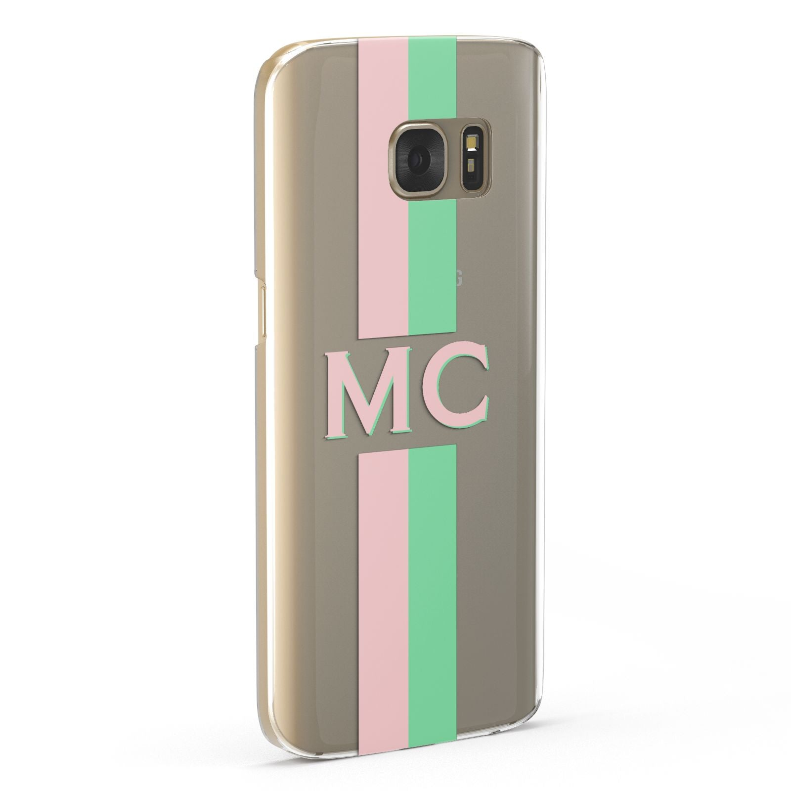 Personalised Transparent Striped Pink Green Samsung Galaxy Case Fourty Five Degrees