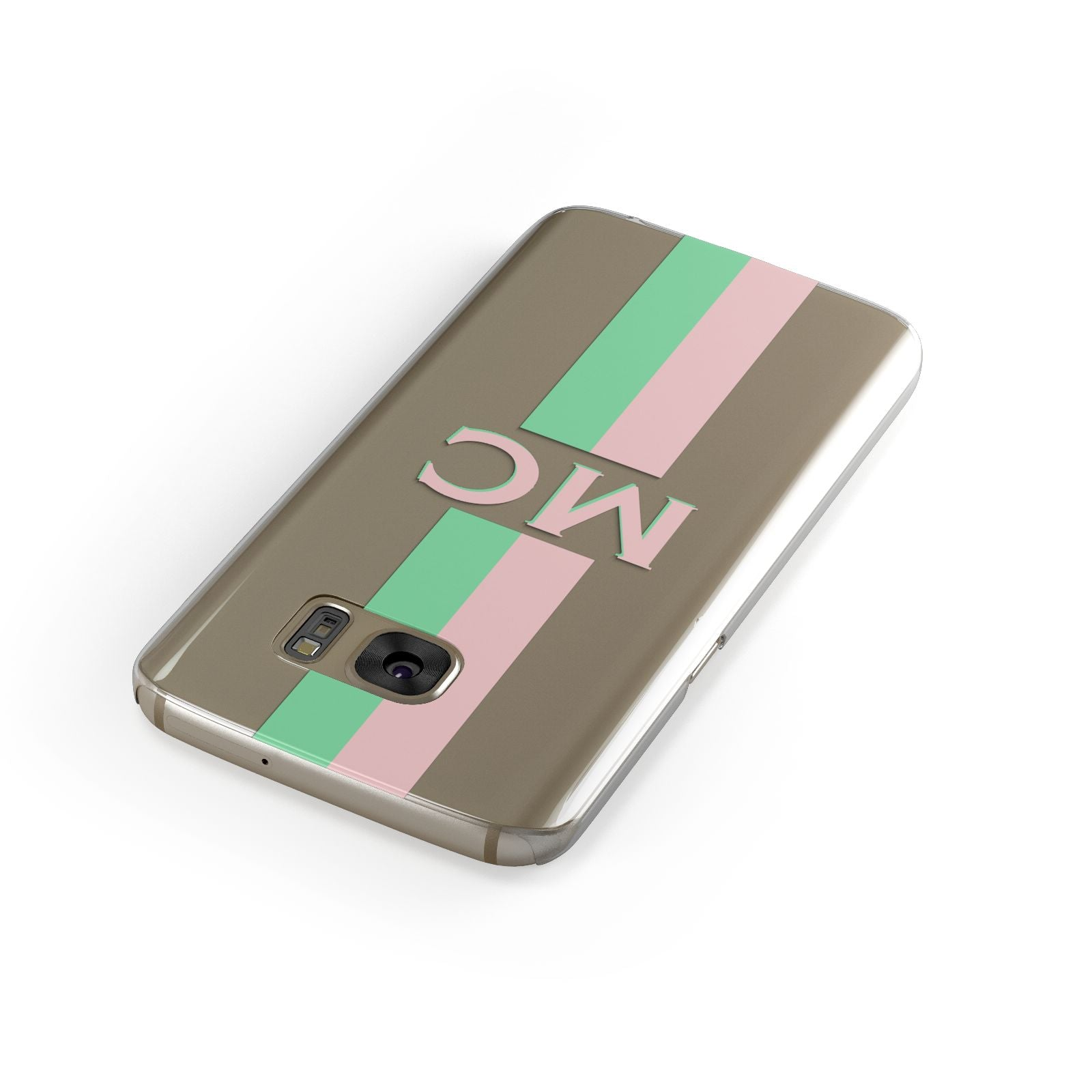 Personalised Transparent Striped Pink Green Samsung Galaxy Case Front Close Up