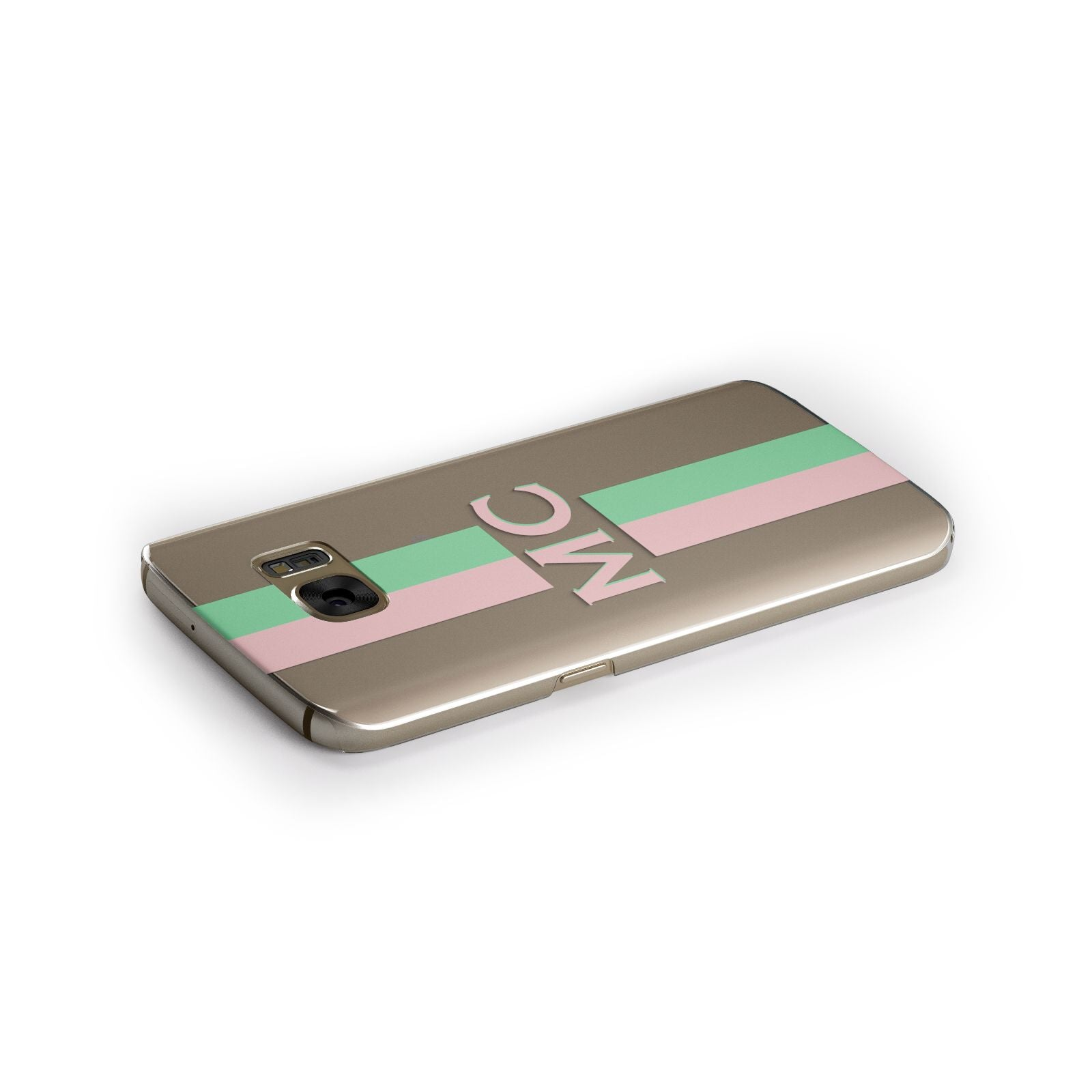 Personalised Transparent Striped Pink Green Samsung Galaxy Case Side Close Up