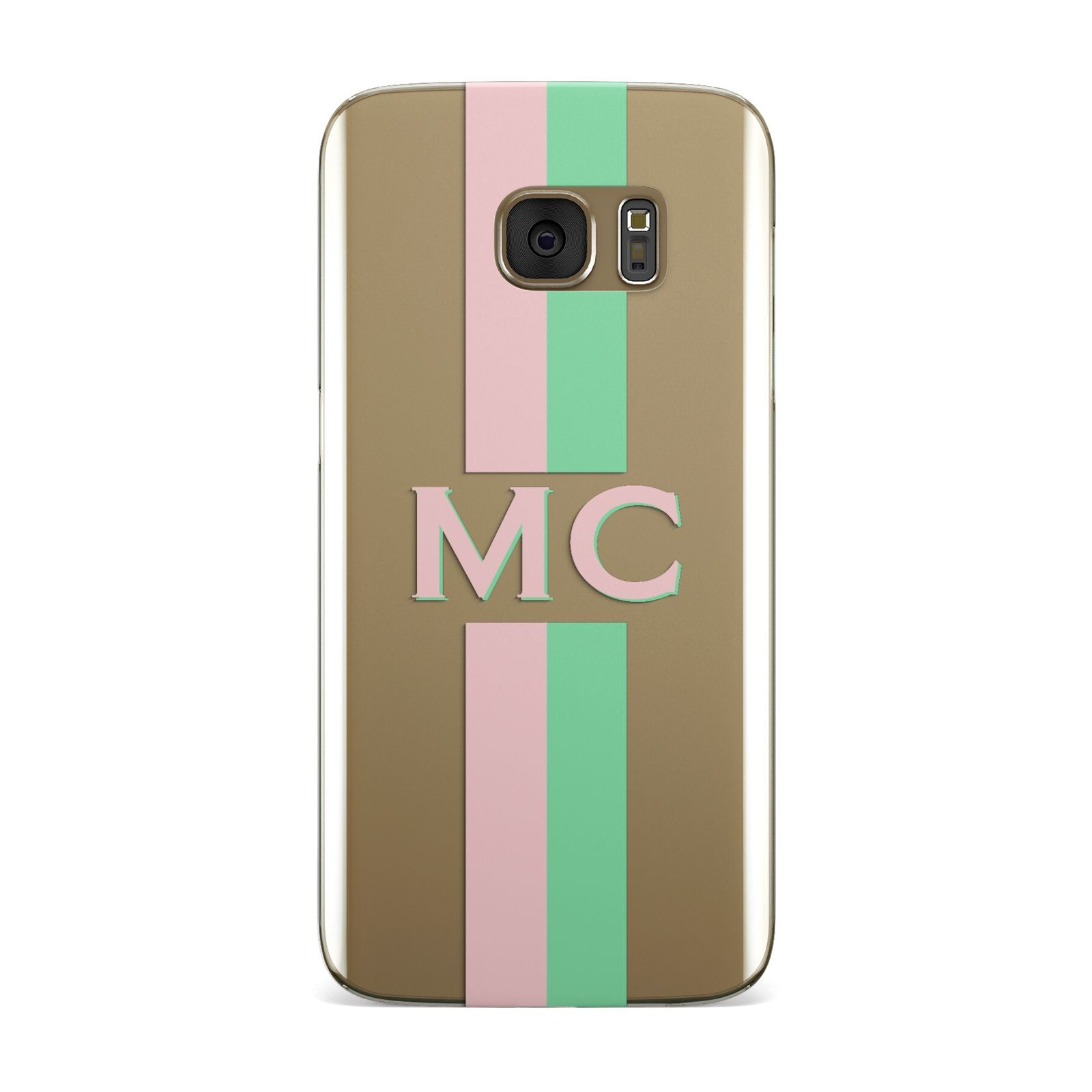 Personalised Transparent Striped Pink Green Samsung Galaxy Case