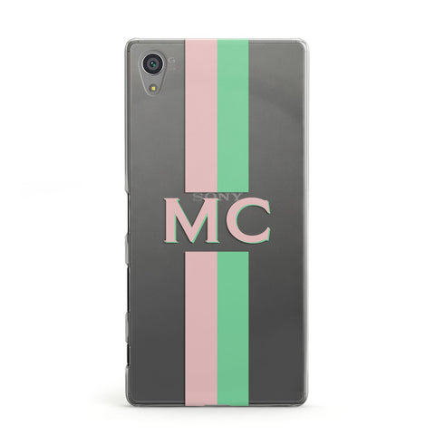 Personalised Transparent Striped Pink & Green Sony Case