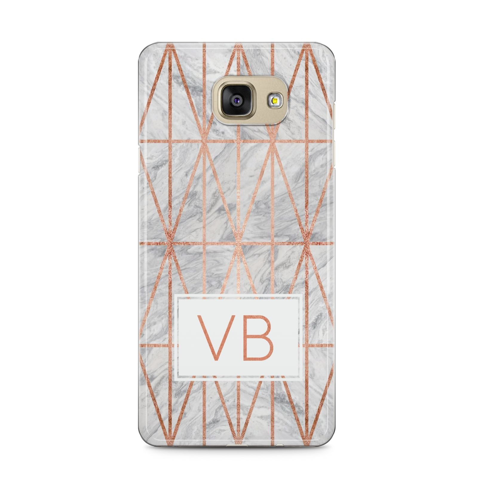 Personalised Triangular Marble Initials Samsung Galaxy A5 2016 Case on gold phone