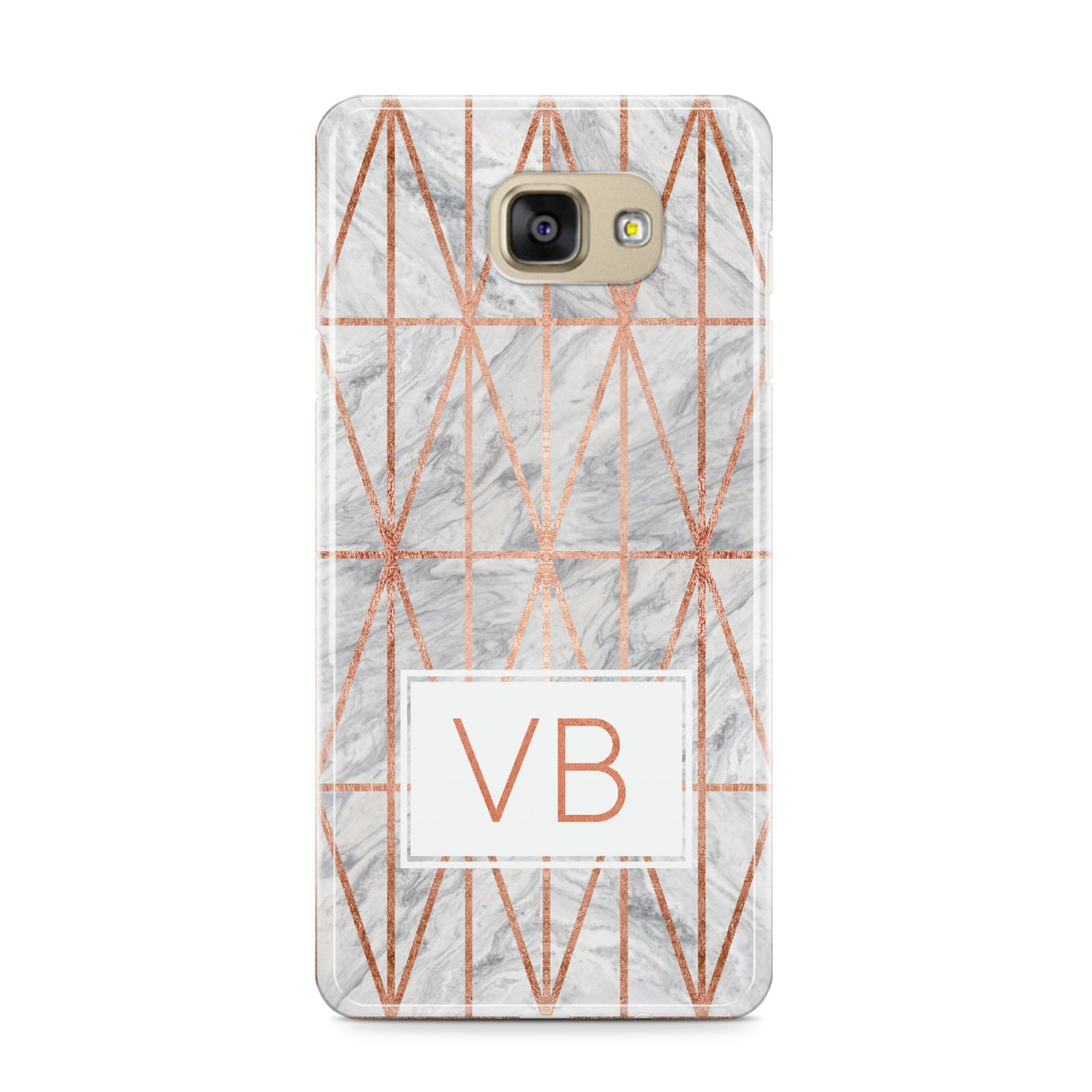 Personalised Triangular Marble Initials Samsung Galaxy A9 2016 Case on gold phone