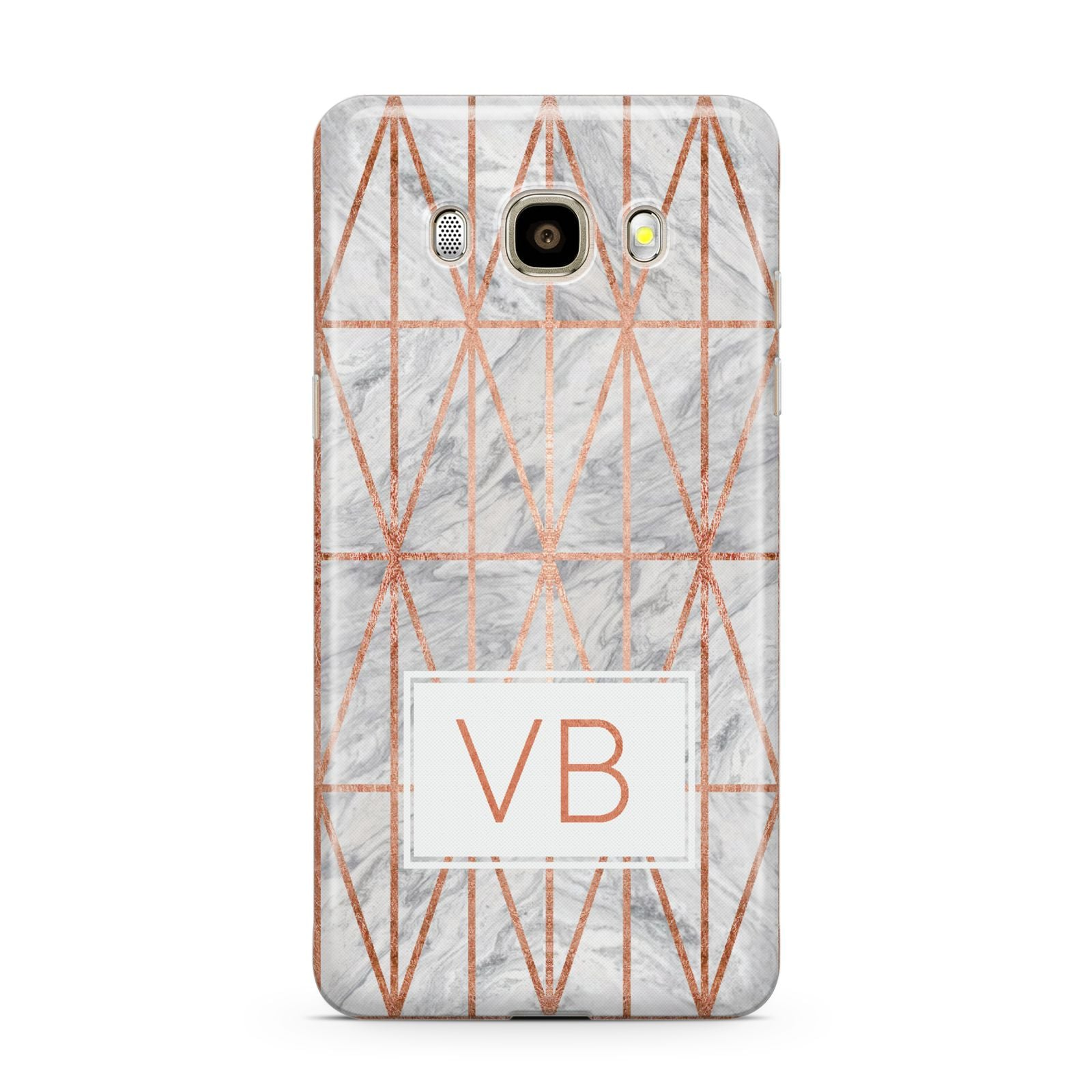 Personalised Triangular Marble Initials Samsung Galaxy J7 2016 Case on gold phone