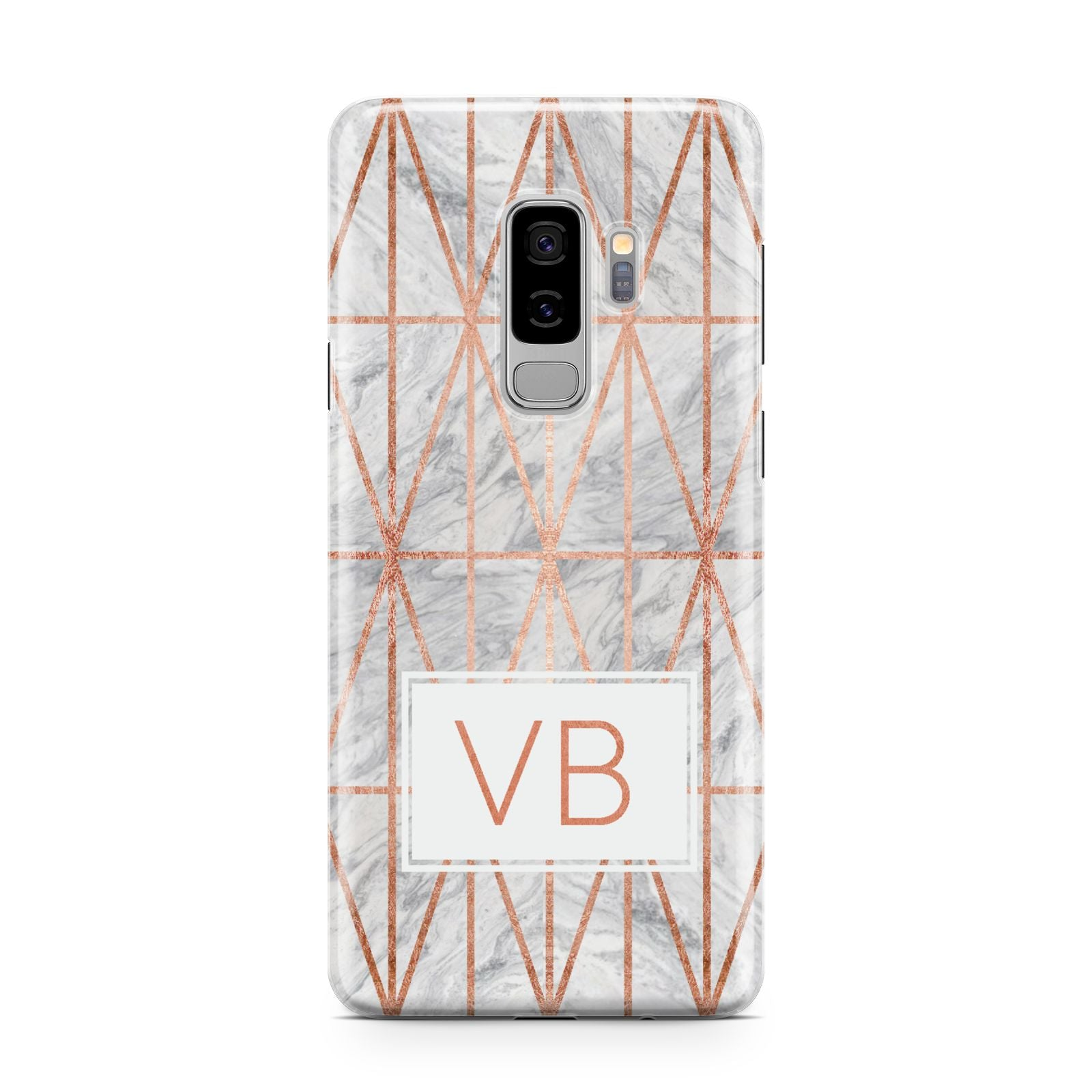 Personalised Triangular Marble Initials Samsung Galaxy S9 Plus Case on Silver phone