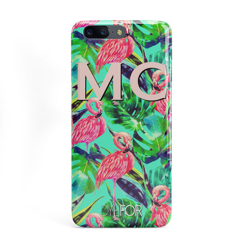 Personalised Tropical Green Leaves Flamingo OnePlus Case