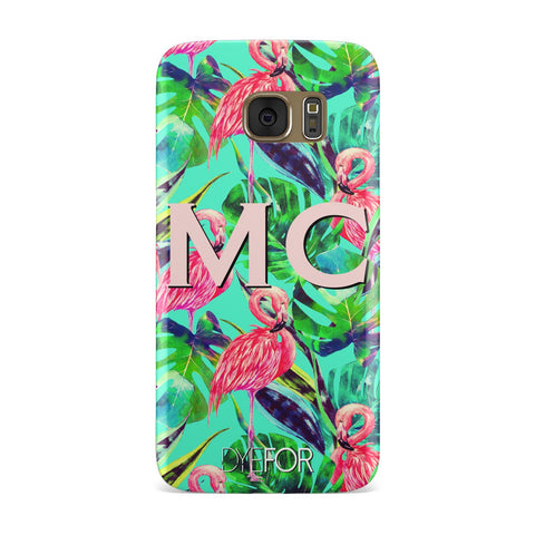 Personalised Tropical Green Leaves Flamingo Samsung Galaxy Case