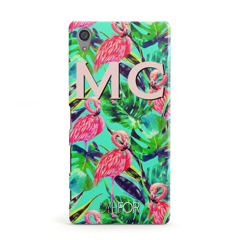 Personalised Tropical Green Leaves Flamingo Sony Case