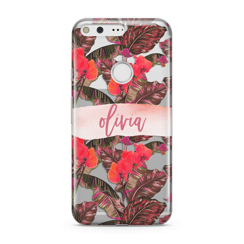Personalised Tropical Orchid Floral Google Case